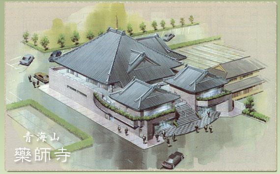 本堂を中心に右側(東側)に東墓苑Ⅰ・Ⅱ、左側(西側)に西墓苑が拡がります。